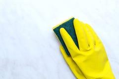 фронт стороны принципиальной схемы чистки предпосылки голубой ее желтый цвет женщины весны mop дома стоящий Чистящие средства Стоковые Изображения