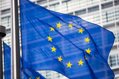 фронт флага eu здания berlaymont Стоковые Фото
