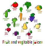 Фруктовые соки фрукта и овоща Стоковые Изображения RF