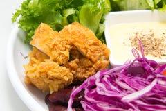 Фруктовый салат смешивания с жареной курицей Стоковая Фотография RF