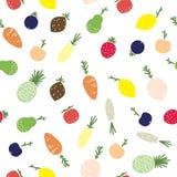 Фрукты и овощи, безшовная картина Стоковое Фото