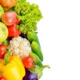 Фрукты и овощи изолированные на белой предпосылке открытый космос стоковое изображение