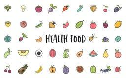 Фрукты и овощи, комплект вегетарианца, лето изолировали значки вектора цвета Стоковое Фото