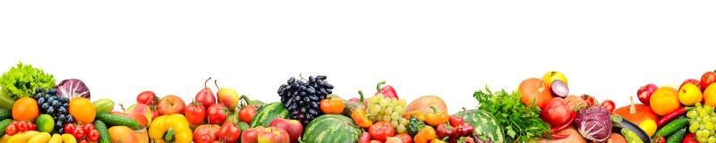 Фрукты и овощи панорамного собрания свежие изолированные на whi Стоковая Фотография