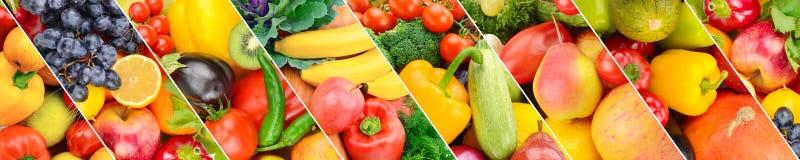 Фрукты и овощи собрания свежие Панорамный коллаж Широкое фото стоковые изображения rf
