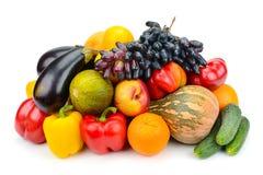 Фрукт и овощ изолированный на белой предпосылке Стоковое Фото