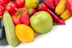 Фрукт и овощ изолированный на белой предпосылке Стоковое Изображение RF