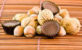 фундуки шоколадов nuts Стоковое Фото