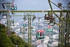 Фуникулеры над тропическими деревьями в Гонконге Стоковое Изображение