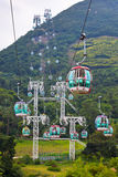 Фуникулеры над тропическими деревьями в Гонконге Стоковая Фотография