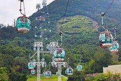 Фуникулеры над тропическими деревьями в Гонконге Стоковое Изображение RF