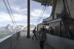 Фуникулер от Schilthorn к Birg, Швейцарии Стоковое Изображение RF