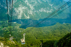 Фуникулярный на озере Bohinj, Словении Стоковое Изображение