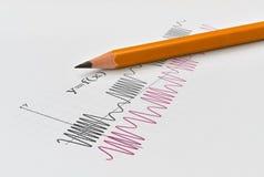 Функции и карандаш математики Стоковое фото RF