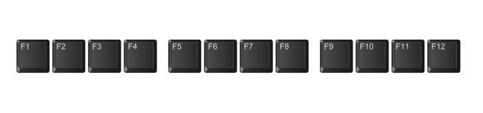 Функциональные клавиши клавиатуры компьютера, черные Стоковое Изображение