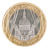 2 фунта монетки Стоковые Изображения