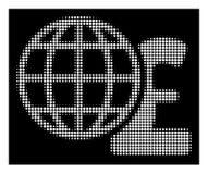Фунт белого полутонового изображения глобальный финансирует значок бесплатная иллюстрация