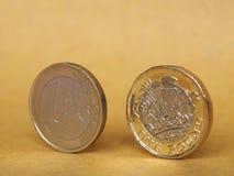 1 фунт и 1 монетка евро над бумажной предпосылкой Стоковое Изображение