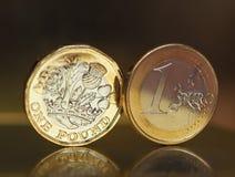 1 фунт и 1 монетка евро над предпосылкой металла Стоковая Фотография RF