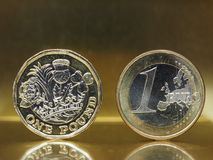 1 фунт и 1 монетка евро над предпосылкой металла Стоковые Изображения RF
