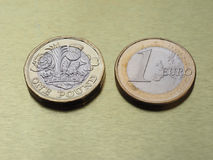 1 фунт и 1 монетка евро над предпосылкой металла Стоковое Изображение