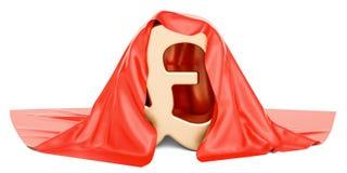 Фунт стерлинга покрыл красную ткань, перевод 3D иллюстрация вектора