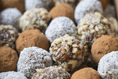 Фундук, какао, шарики даты кокоса Стоковая Фотография RF
