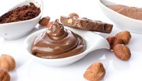 Фундук сладостного шоколада распространенный с бурым порохом стоковое изображение