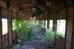 Фура перерастанного ржавого покинутая и разрушенная поезда Отголосок Грузин-Abkhaz войны Стоковые Изображения RF