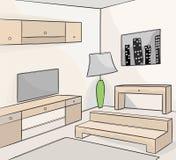 фура софы комнаты углового обеда нутряная живущая иллюстрация вектора