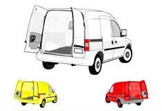 Фургоны на белой предпосылке. Стоковое Изображение RF