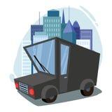 Фургон груза trucking Автомобиль Городской пейзаж против фона города Стоковые Фотографии RF