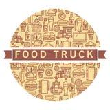 Фургон еды ярлыка Стоковая Фотография RF