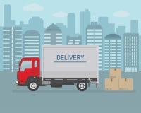 Фургон и картонные коробки поставки на предпосылке города Стоковое Изображение RF