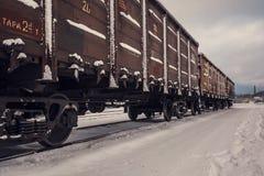 Фуры поезда в снеге стоковые изображения