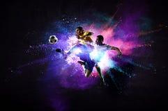 Футболисты в действии Мультимедиа стоковая фотография