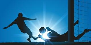 Футболист ведя счет цель против голкипера во время встречи иллюстрация вектора