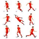 Футболист играя с футбольным мячом Стоковое Фото