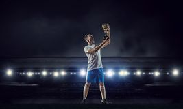 Футболист на стадионе Мультимедиа Стоковые Изображения RF