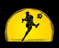 Футболист снимая вектор графика действия шарика Стоковые Фото