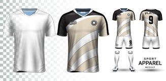 Футболка и шаблон модель-макета представления набора футбола иллюстрация вектора