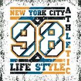 Футболка Нью-Йорк, оформление atletics, коллеж моды, спорт de иллюстрация штока