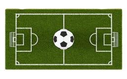 Футбольное поле зеленой травы и шарик футбола на предпосылке поля Зона объекта игры 3d футбольного стадиона футбол горящего стекл Стоковая Фотография