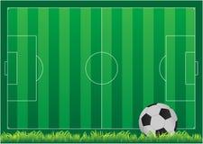 Футбольное поле, набор футбольного поля с bal футбола стоковые фото