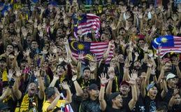 Футбольные болельщики Малайзии с флагом стоковая фотография rf