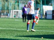 Футбольные команды - мальчики в красном, голубом, белом футболе игры sportswear на зеленом поле мальчики капая капая навыки Игра  стоковая фотография rf