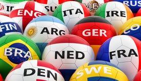 Футбольные мячи покрашенные в различных цветах национального флага Стоковые Изображения RF