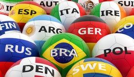 Футбольные мячи покрашенные в различных цветах национального флага Стоковое Изображение RF