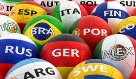 Футбольные мячи покрашенные в различных цветах национального флага Стоковые Изображения