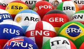 Футбольные мячи покрашенные в различных цветах национального флага Стоковые Фотографии RF